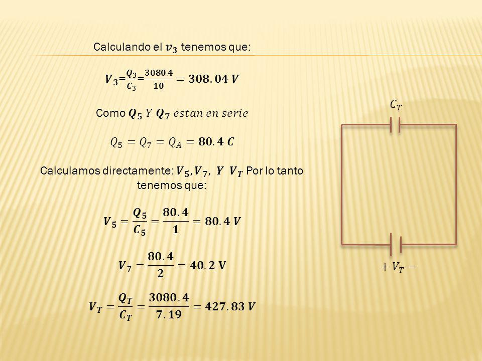Calculando el 𝒗 𝟑 tenemos que: 𝑽 𝟑 = 𝑸 𝟑 𝑪 𝟑 = 𝟑𝟎𝟖𝟎.𝟒 𝟏𝟎 =𝟑𝟎𝟖.𝟎𝟒 𝑽