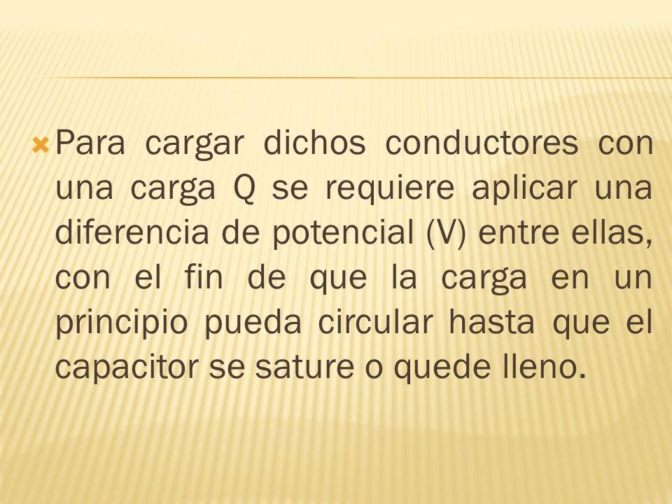 Para cargar dichos conductores con una carga Q se requiere aplicar una diferencia de potencial (V) entre ellas, con el fin de que la carga en un principio pueda circular hasta que el capacitor se sature o quede lleno.