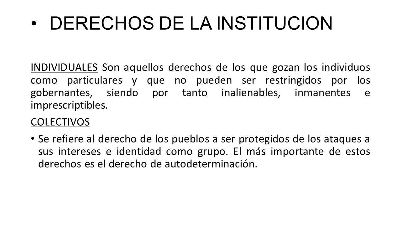 DERECHOS DE LA INSTITUCION