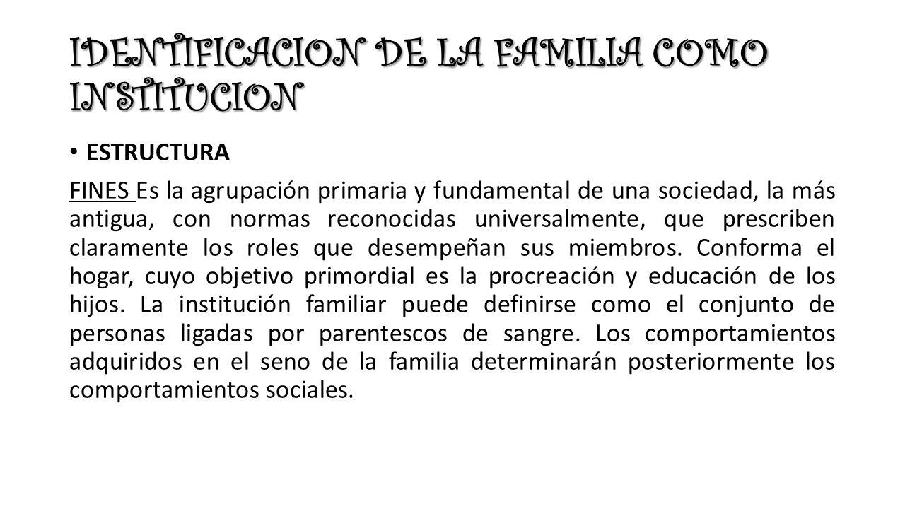 IDENTIFICACION DE LA FAMILIA COMO INSTITUCION