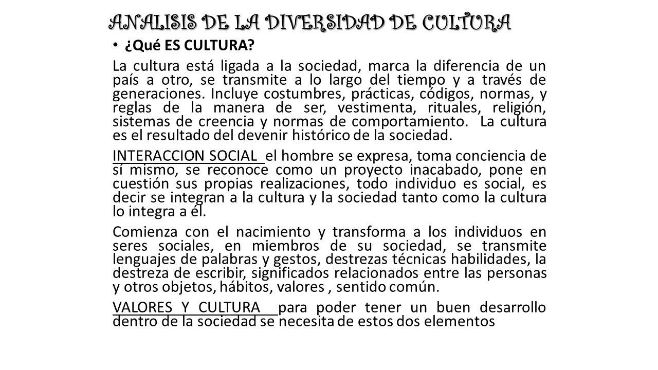 ANALISIS DE LA DIVERSIDAD DE CULTURA