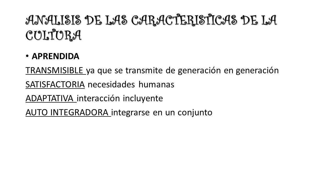 ANALISIS DE LAS CARACTERISTICAS DE LA CULTURA