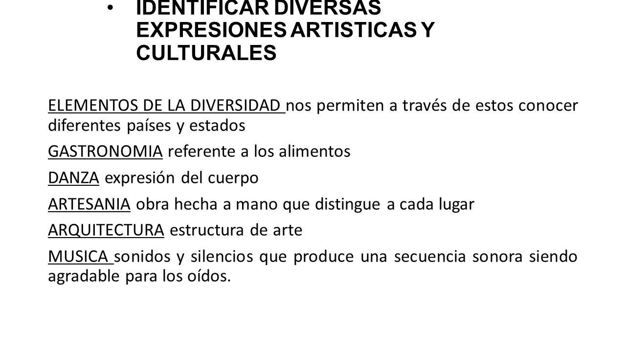 IDENTIFICAR DIVERSAS EXPRESIONES ARTISTICAS Y CULTURALES