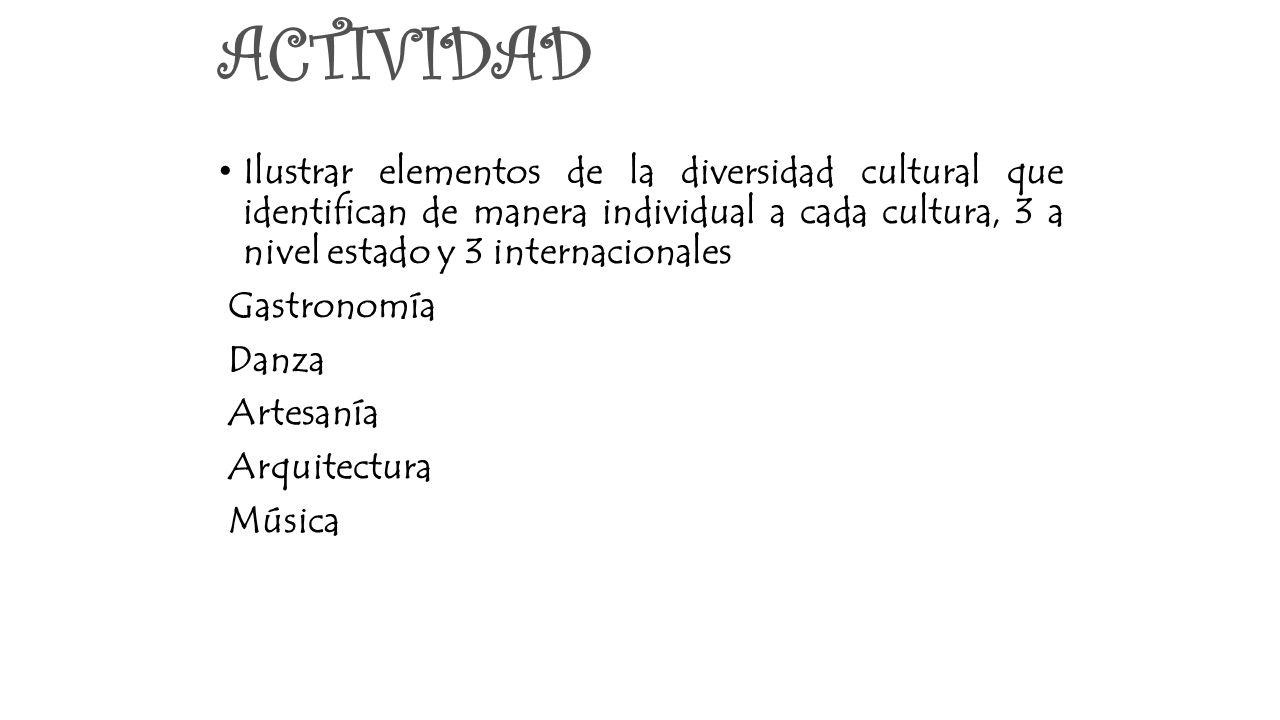 ACTIVIDAD Ilustrar elementos de la diversidad cultural que identifican de manera individual a cada cultura, 3 a nivel estado y 3 internacionales.