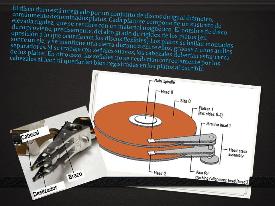 El disco duro está integrado por un conjunto de discos de igual diámetro, comúnmente denominados platos.