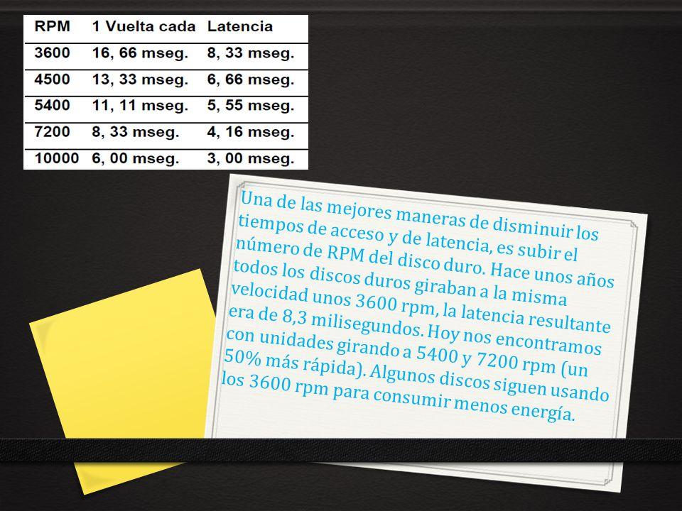 Una de las mejores maneras de disminuir los tiempos de acceso y de latencia, es subir el número de RPM del disco duro.