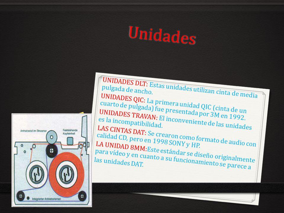 Unidades UNIDADES DLT: Estas unidades utilizan cinta de media pulgada de ancho.