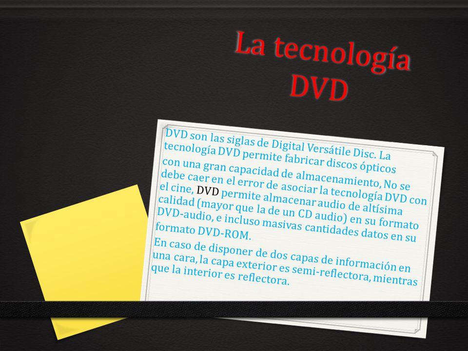 La tecnología DVD DVD son las siglas de Digital Versátile Disc. La tecnología DVD permite fabricar discos ópticos.