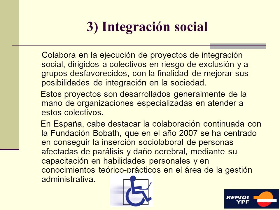 3) Integración social
