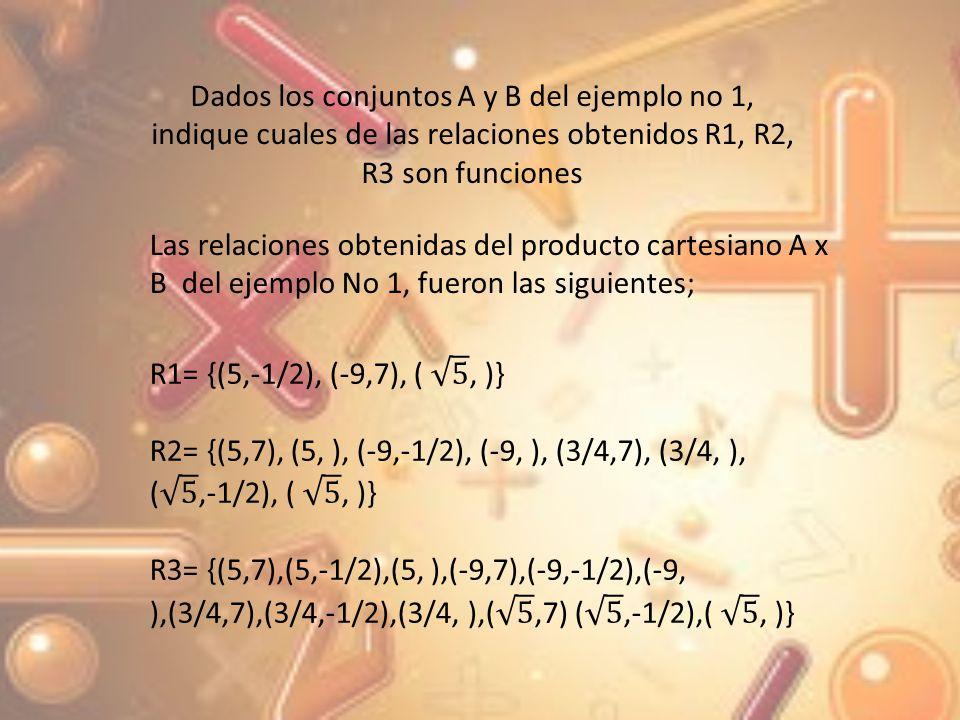 Dados los conjuntos A y B del ejemplo no 1, indique cuales de las relaciones obtenidos R1, R2, R3 son funciones