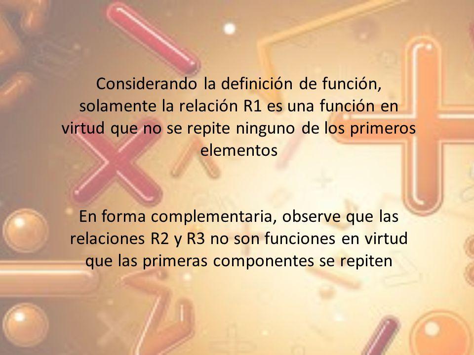 Considerando la definición de función, solamente la relación R1 es una función en virtud que no se repite ninguno de los primeros elementos