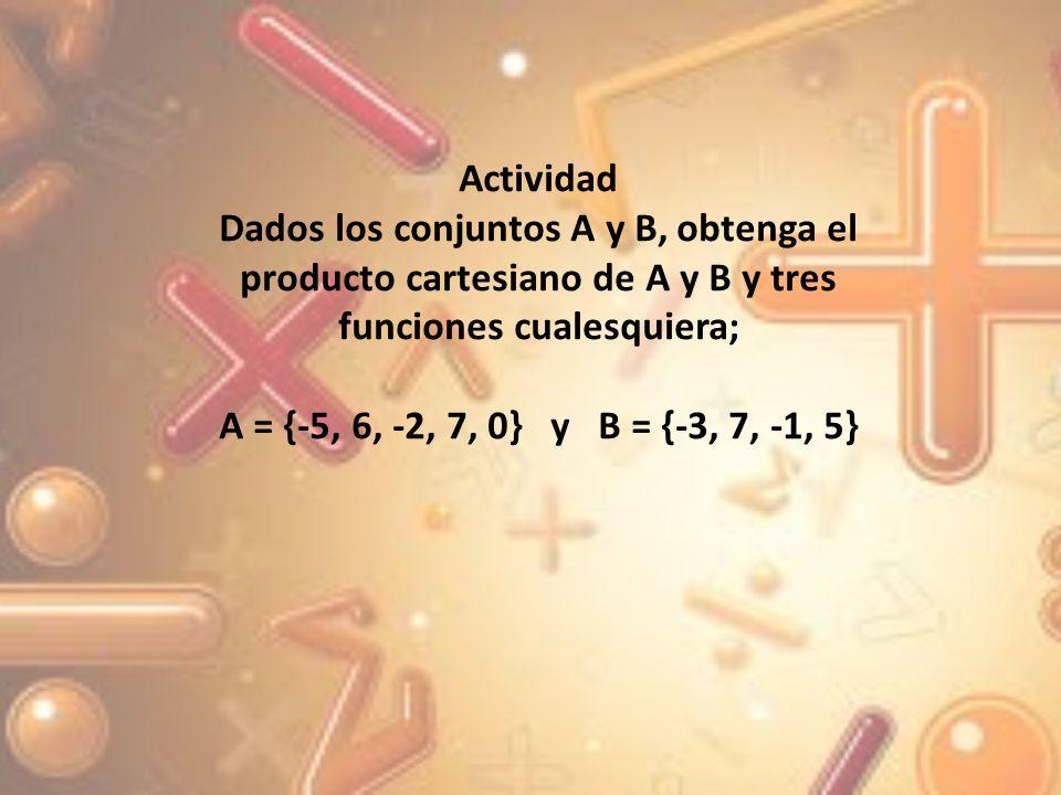 Actividad Dados los conjuntos A y B, obtenga el producto cartesiano de A y B y tres funciones cualesquiera;