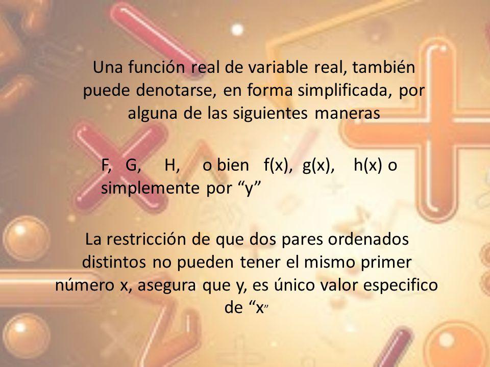 Una función real de variable real, también puede denotarse, en forma simplificada, por alguna de las siguientes maneras