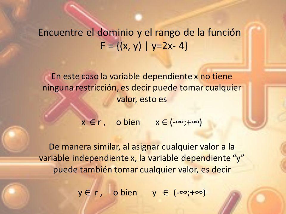 Encuentre el dominio y el rango de la función F = {(x, y) | y=2x- 4}