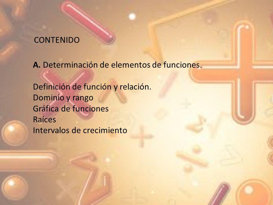 CONTENIDO A. Determinación de elementos de funciones. Definición de función y relación. Dominio y rango.