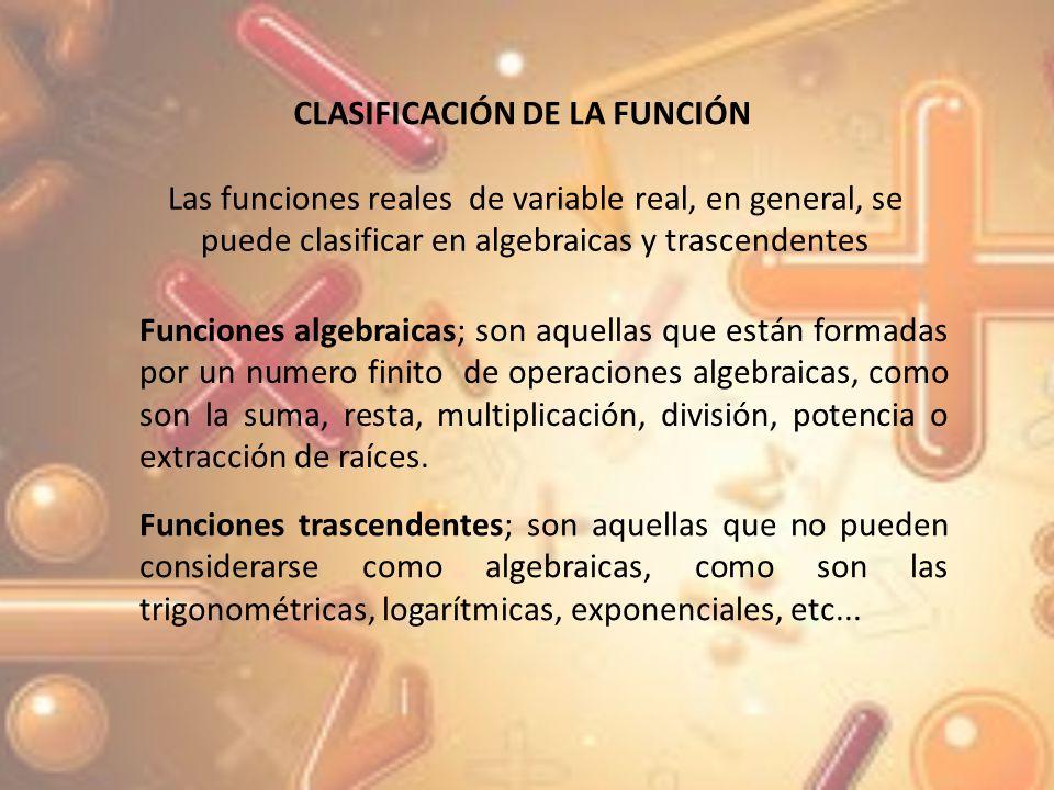 CLASIFICACIÓN DE LA FUNCIÓN
