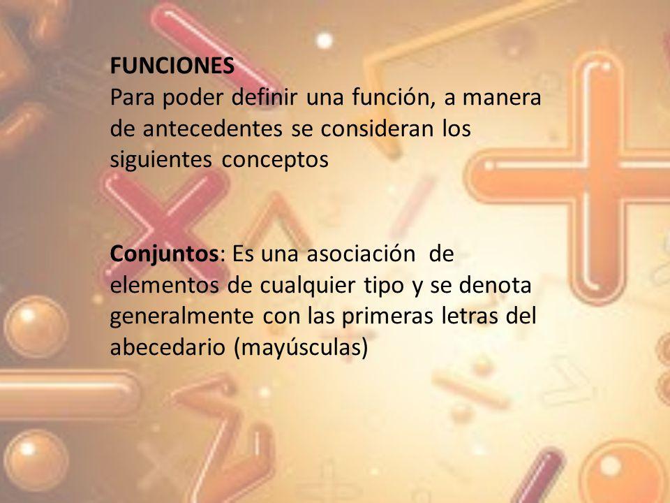 FUNCIONES Para poder definir una función, a manera de antecedentes se consideran los siguientes conceptos.