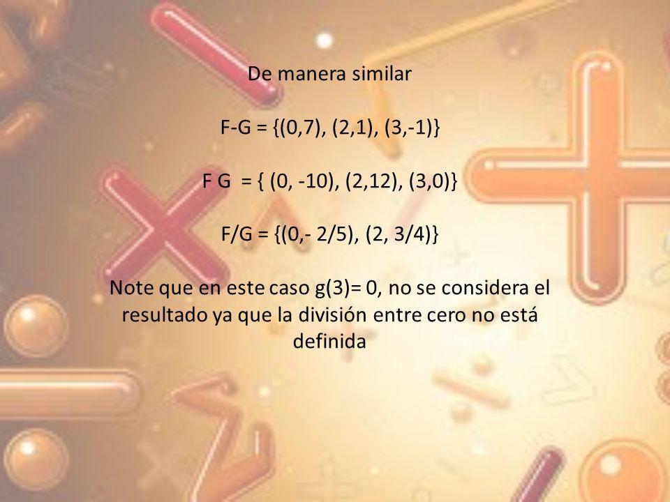 De manera similar F-G = {(0,7), (2,1), (3,-1)} F G = { (0, -10), (2,12), (3,0)} F/G = {(0,- 2/5), (2, 3/4)}