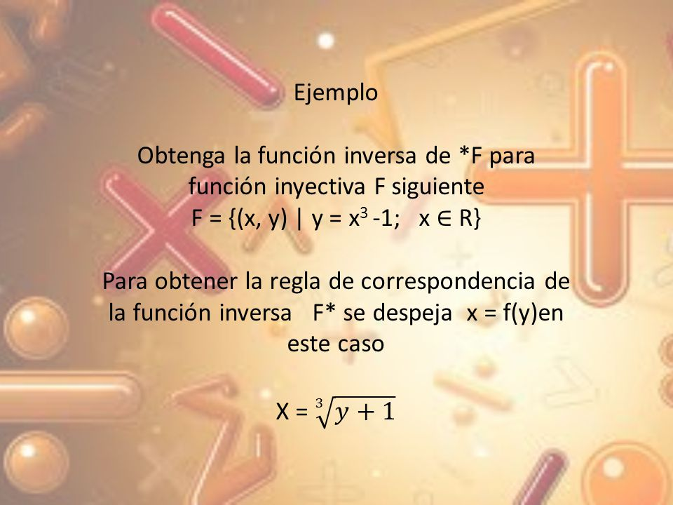 Obtenga la función inversa de *F para función inyectiva F siguiente