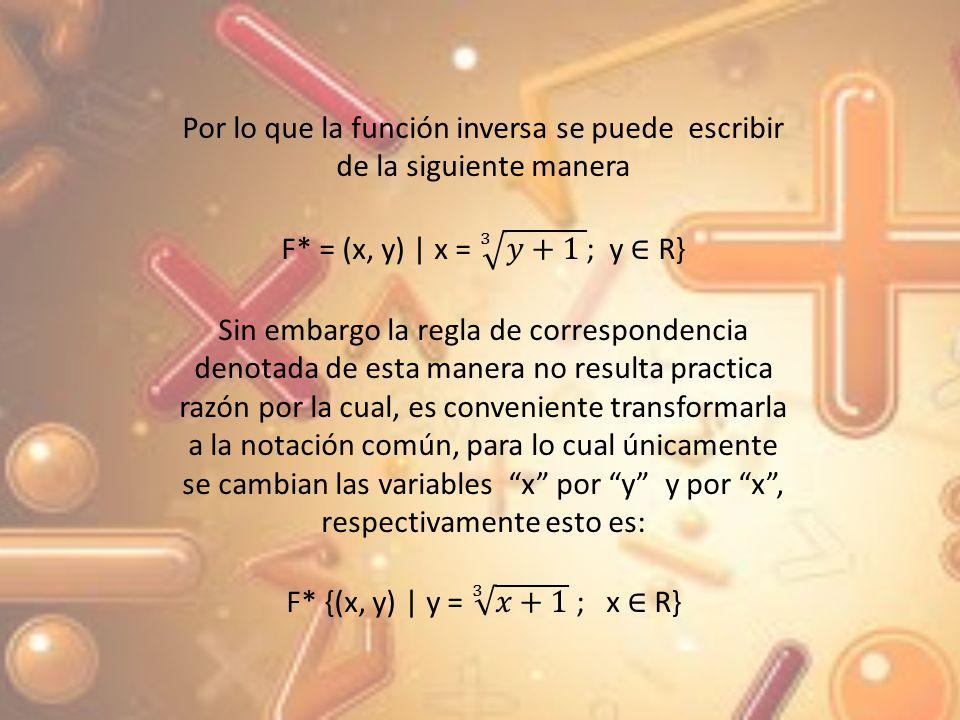 Por lo que la función inversa se puede escribir de la siguiente manera