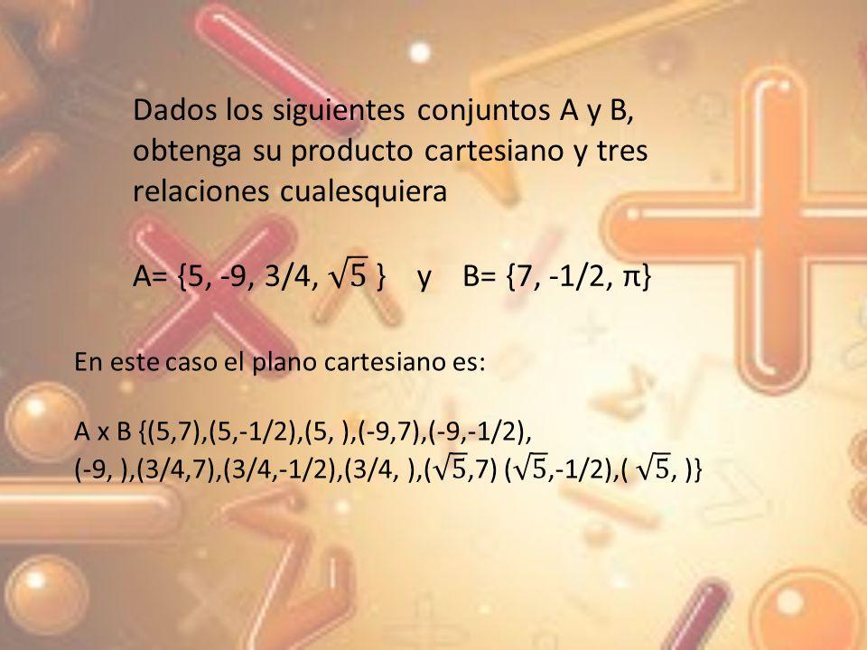 Dados los siguientes conjuntos A y B, obtenga su producto cartesiano y tres relaciones cualesquiera
