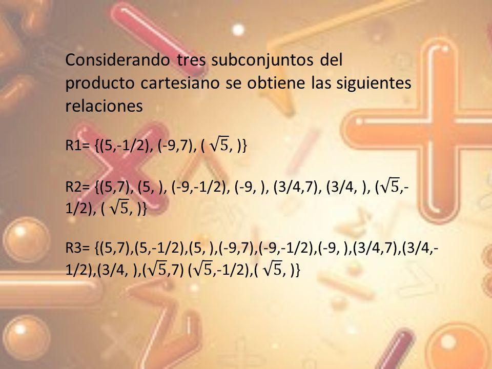 Considerando tres subconjuntos del producto cartesiano se obtiene las siguientes relaciones