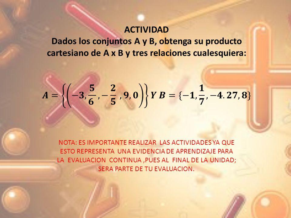 ACTIVIDAD Dados los conjuntos A y B, obtenga su producto cartesiano de A x B y tres relaciones cualesquiera: