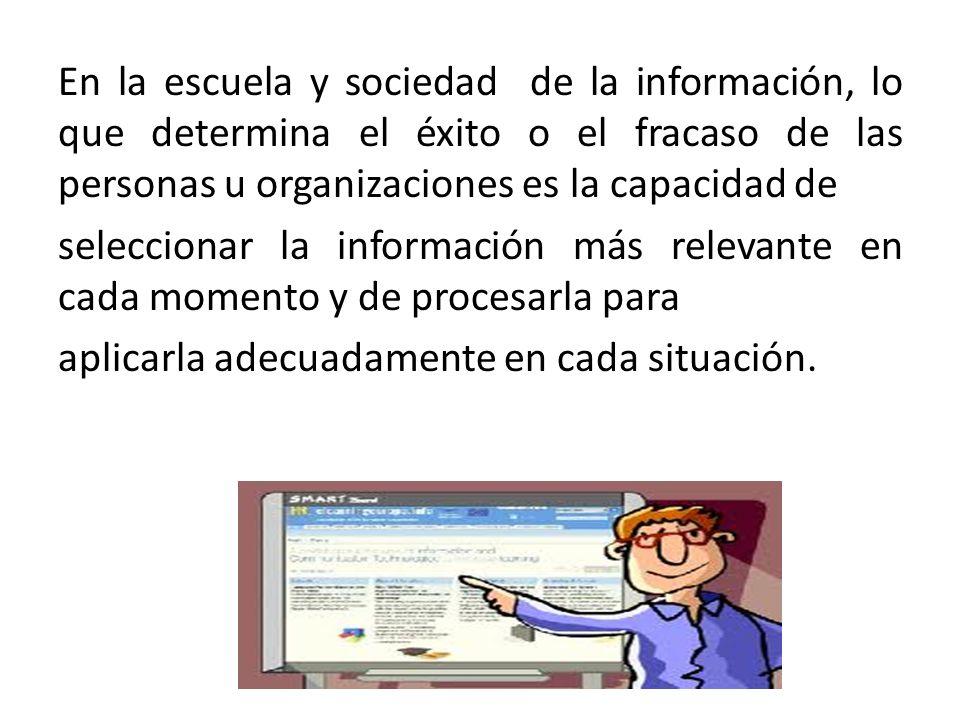 En la escuela y sociedad de la información, lo que determina el éxito o el fracaso de las personas u organizaciones es la capacidad de seleccionar la información más relevante en cada momento y de procesarla para aplicarla adecuadamente en cada situación.