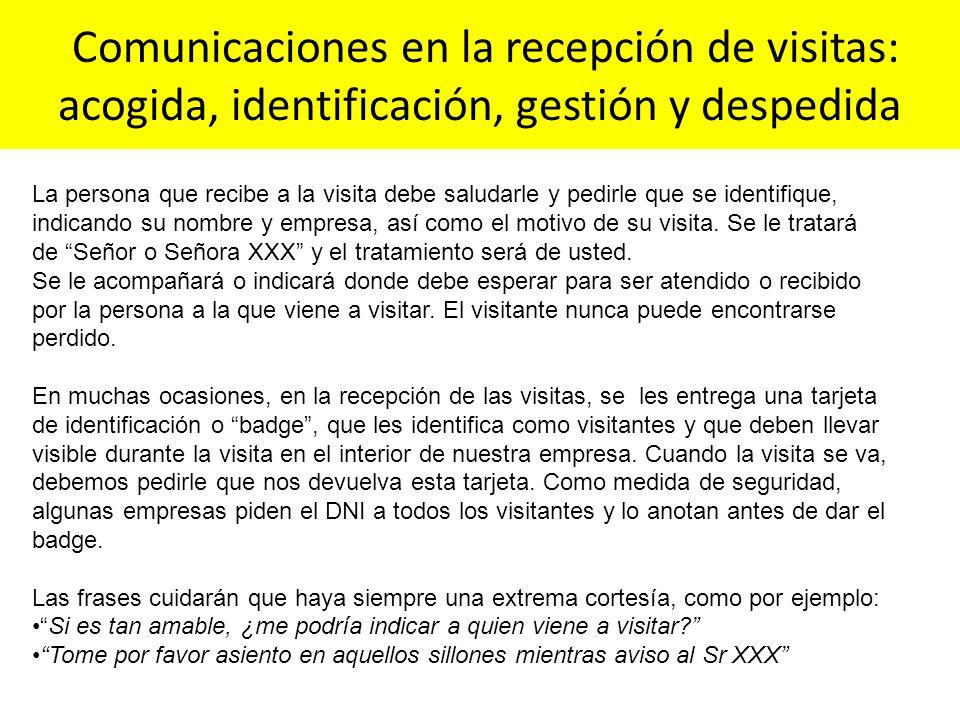 Comunicaciones en la recepción de visitas: acogida, identificación, gestión y despedida