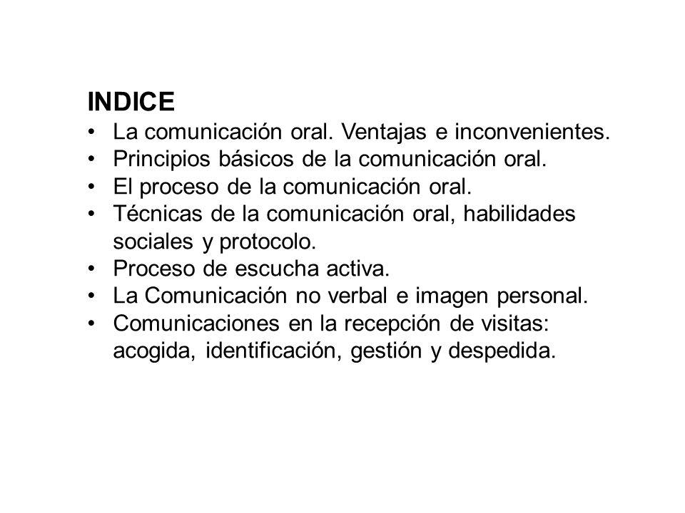 INDICE La comunicación oral. Ventajas e inconvenientes.