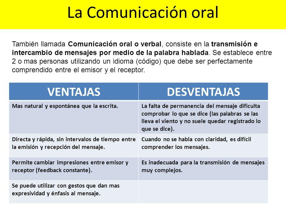 La Comunicación oral VENTAJAS DESVENTAJAS