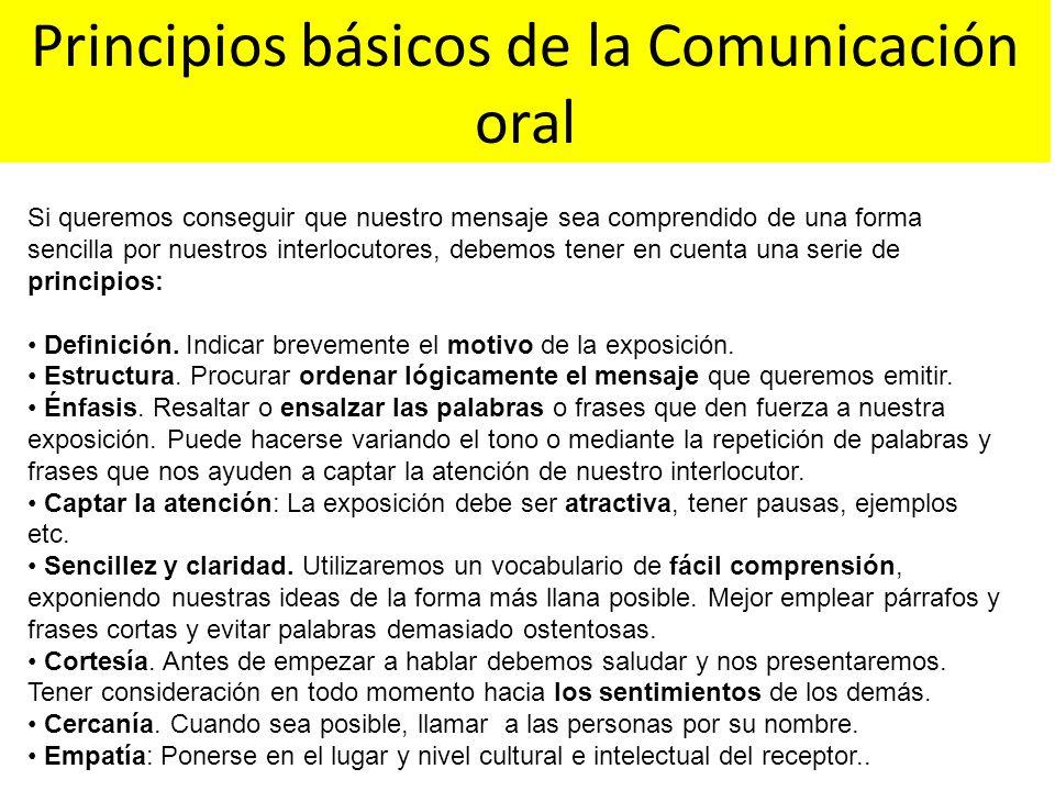 Principios básicos de la Comunicación oral