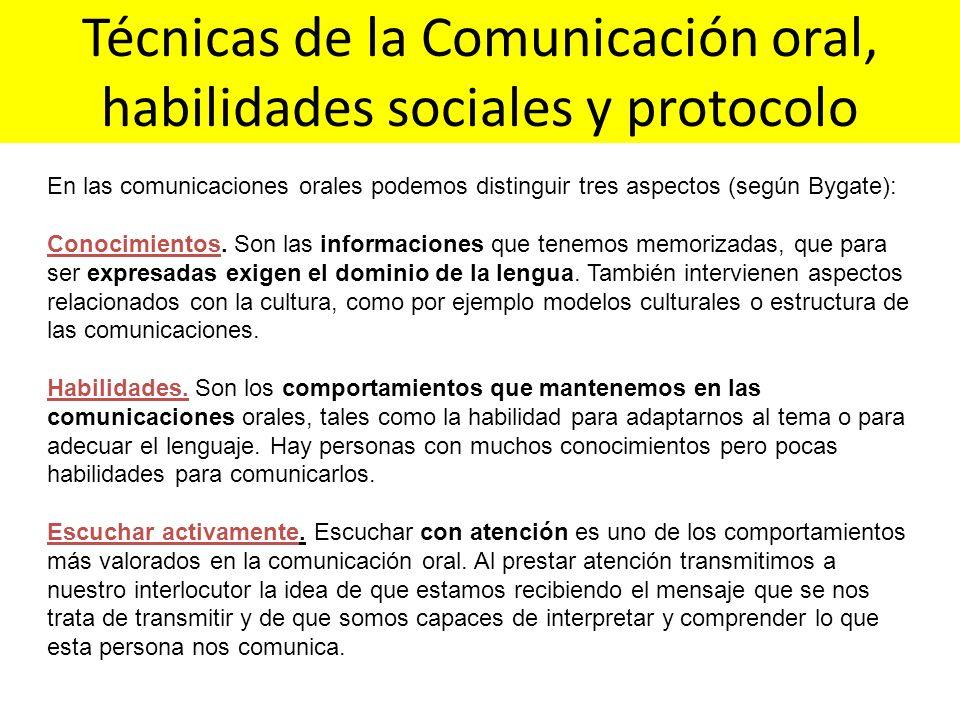 Técnicas de la Comunicación oral, habilidades sociales y protocolo