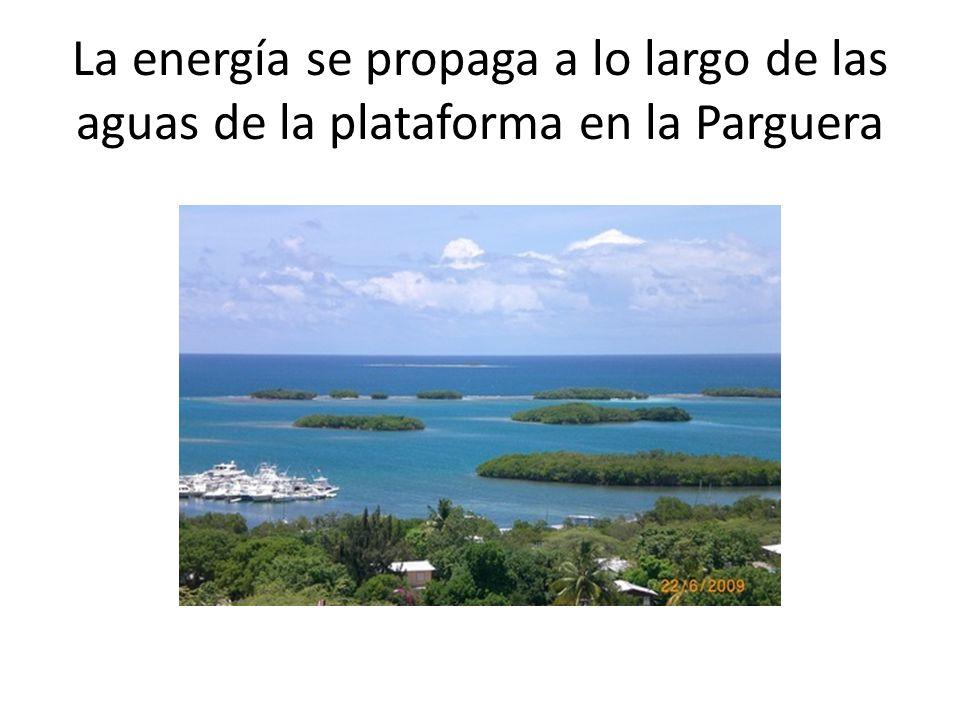 La energía se propaga a lo largo de las aguas de la plataforma en la Parguera