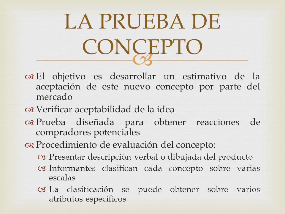LA PRUEBA DE CONCEPTO El objetivo es desarrollar un estimativo de la aceptación de este nuevo concepto por parte del mercado.