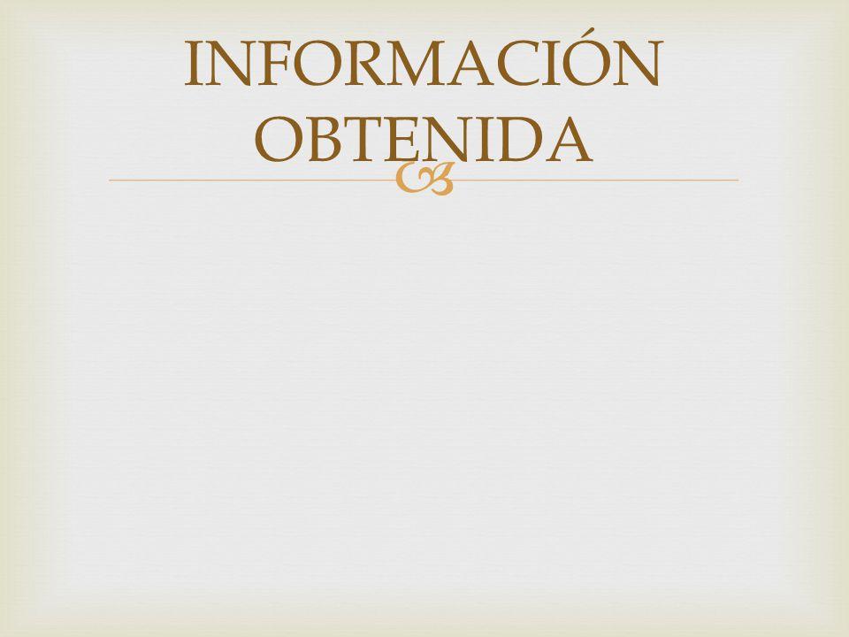 INFORMACIÓN OBTENIDA
