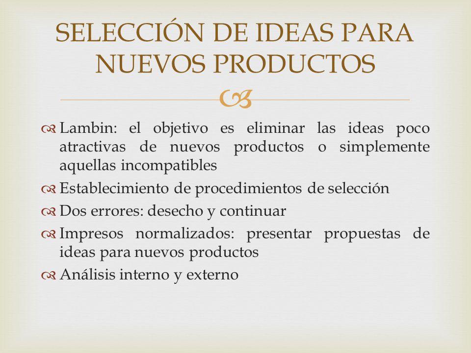 SELECCIÓN DE IDEAS PARA NUEVOS PRODUCTOS