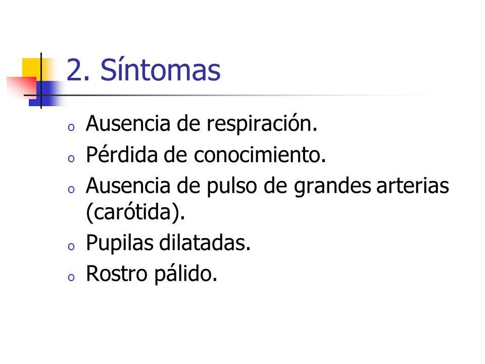 2. Síntomas Ausencia de respiración. Pérdida de conocimiento.