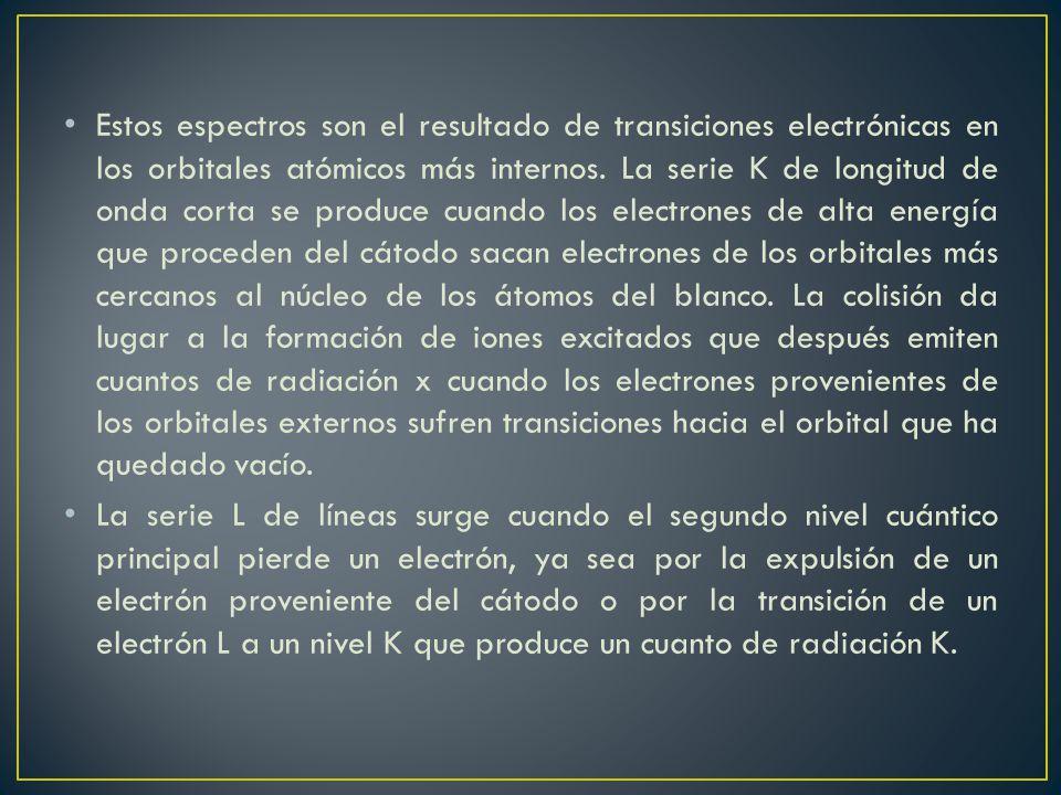 Estos espectros son el resultado de transiciones electrónicas en los orbitales atómicos más internos. La serie K de longitud de onda corta se produce cuando los electrones de alta energía que proceden del cátodo sacan electrones de los orbitales más cercanos al núcleo de los átomos del blanco. La colisión da lugar a la formación de iones excitados que después emiten cuantos de radiación x cuando los electrones provenientes de los orbitales externos sufren transiciones hacia el orbital que ha quedado vacío.