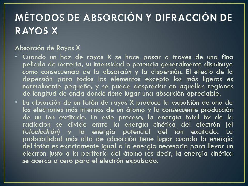 MÉTODOS DE ABSORCIÓN Y DIFRACCIÓN DE RAYOS X