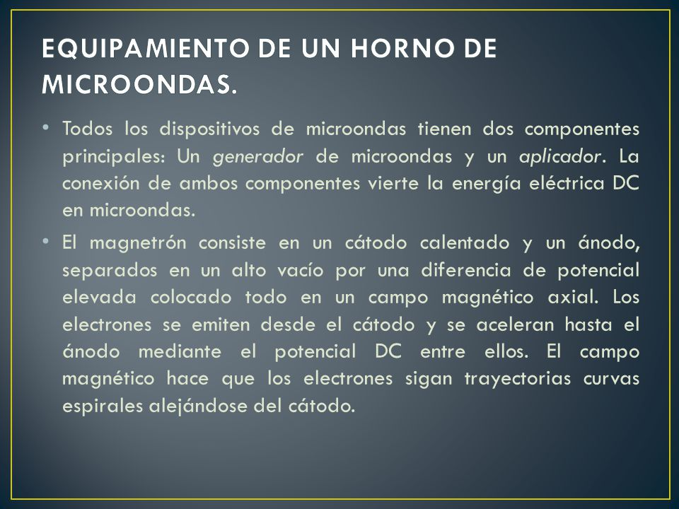EQUIPAMIENTO DE UN HORNO DE MICROONDAS.