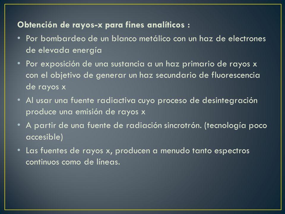 Obtención de rayos-x para fines analíticos :