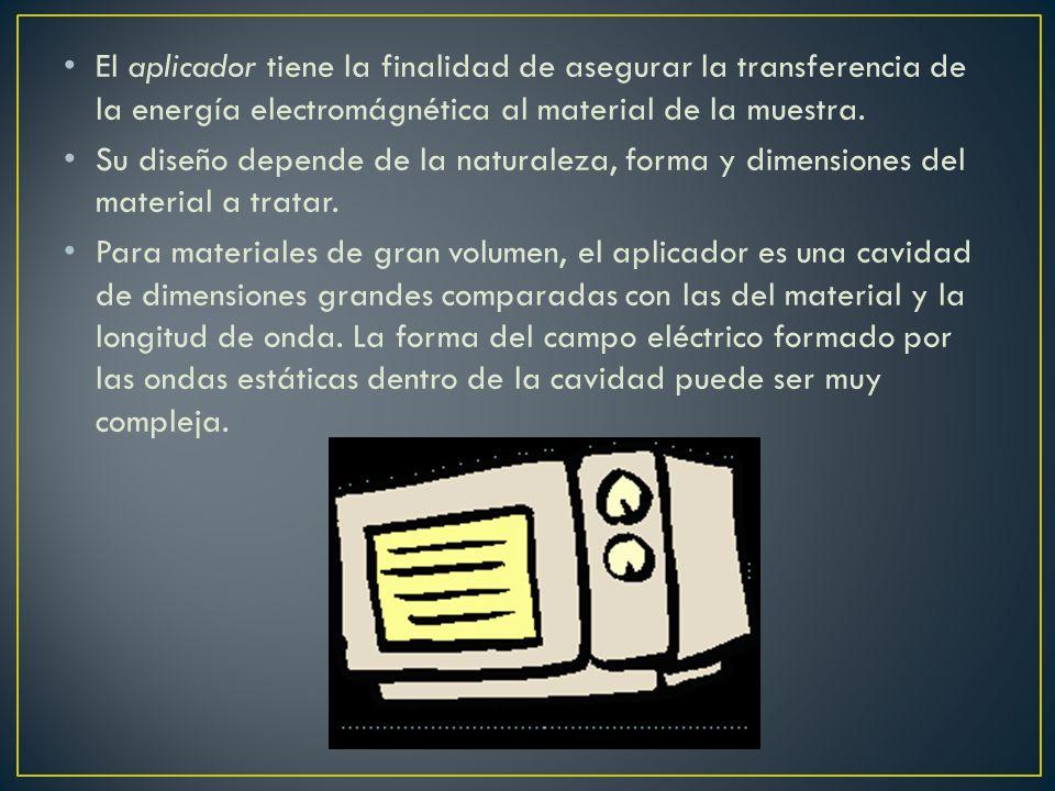 El aplicador tiene la finalidad de asegurar la transferencia de la energía electromágnética al material de la muestra.