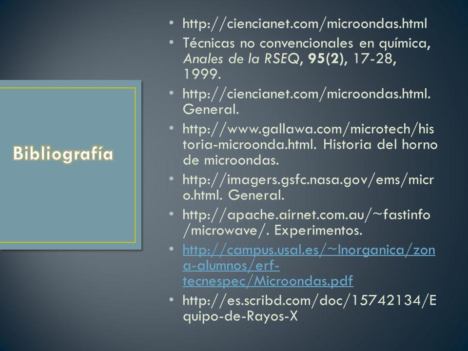 Bibliografía http://ciencianet.com/microondas.html