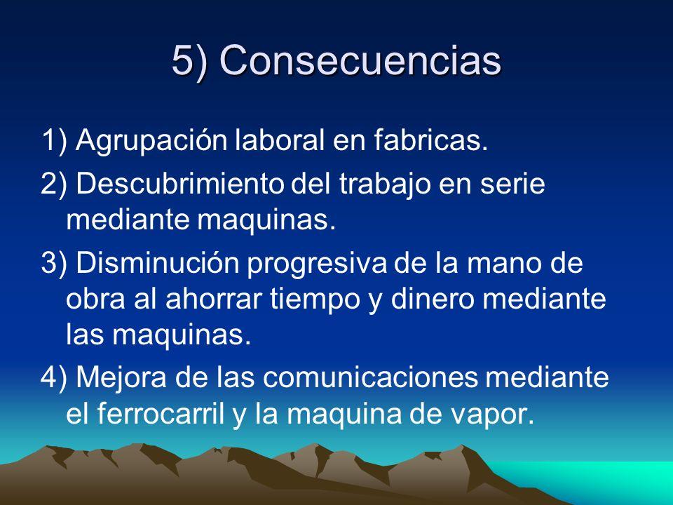 5) Consecuencias 1) Agrupación laboral en fabricas.