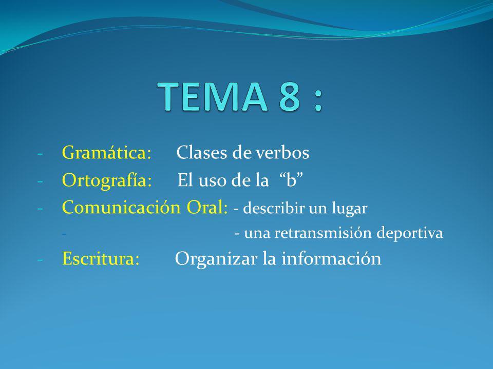 TEMA 8 : Gramática: Clases de verbos Ortografía: El uso de la b