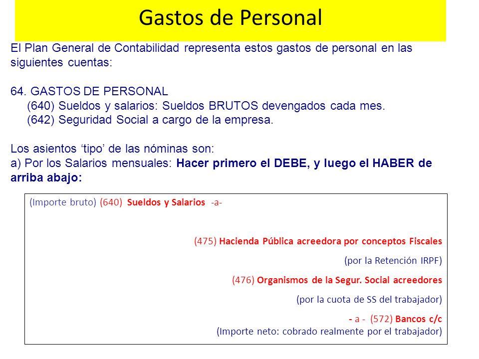 Gastos de Personal El Plan General de Contabilidad representa estos gastos de personal en las siguientes cuentas: