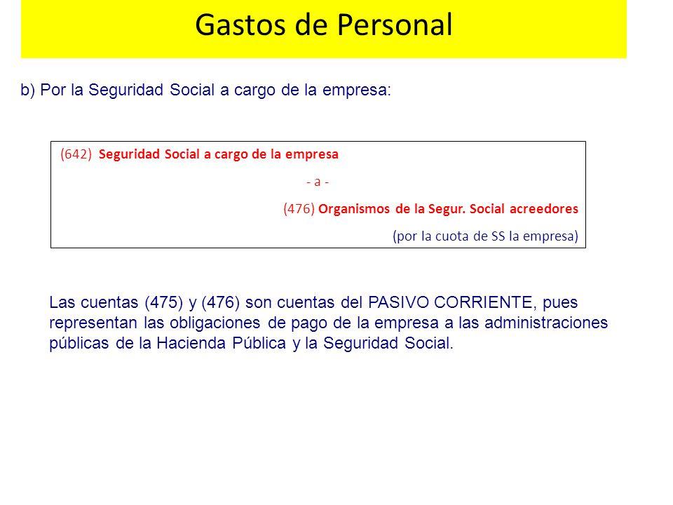 Gastos de Personal b) Por la Seguridad Social a cargo de la empresa: