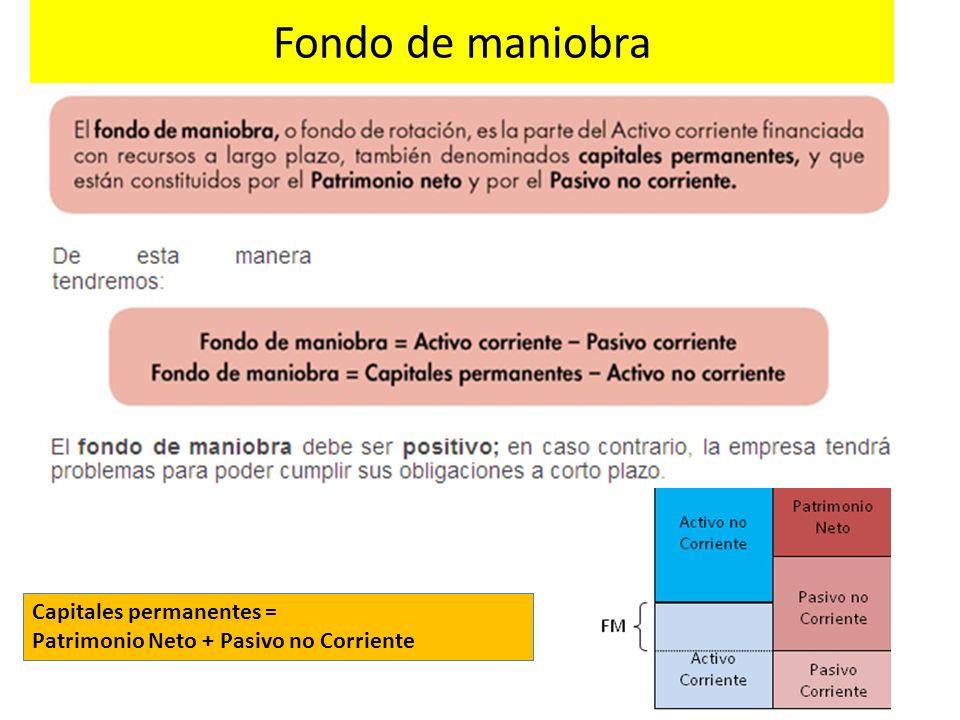 Fondo de maniobra Capitales permanentes =