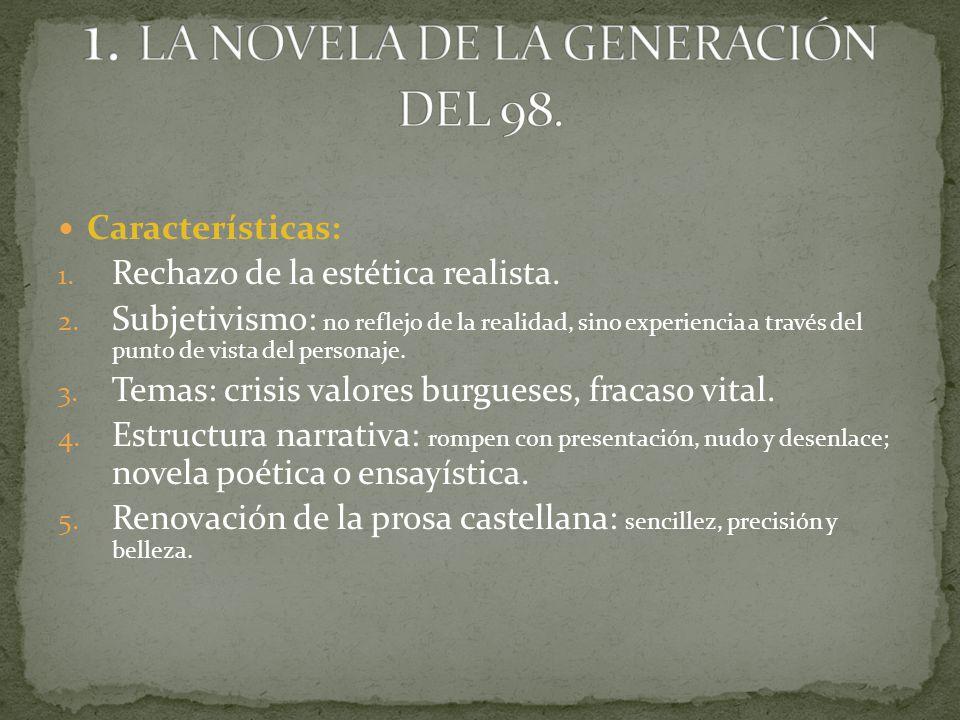 1. LA NOVELA DE LA GENERACIÓN DEL 98.
